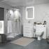 Bathroom White Shower Suite with Storage