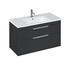 Britton Shoreditch Wall Hung Double Drawer 1000mm Vanity Unit Grey