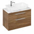 Britton Shoreditch Wall Hung Double Drawer 850mm Vanity Unit with Yacht Countertop Basin Caramel