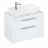 Britton Shoreditch Wall Hung Double Drawer 850mm Vanity Unit with Yacht Countertop Basin White