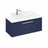 Britton Shoreditch Wall Hung Single Drawer 1000mm Vanity Unit with Yacht Countertop Basin Blue