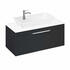 Britton Shoreditch Wall Hung Single Drawer 1000mm Vanity Unit with Yacht Countertop Basin Grey