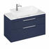 Britton Shoreditch Wall Hung Double Drawer 1000mm Vanity Unit with Yacht Countertop Basin Blue
