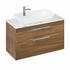 Britton Shoreditch Wall Hung Double Drawer 1000mm Vanity Unit with Yacht Countertop Basin Caramel