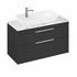 Britton Shoreditch Wall Hung Double Drawer 1000mm Vanity Unit with Yacht Countertop Basin Grey