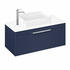 Britton Shoreditch Wall Hung Double Drawer 1000mm Vanity Unit with Quad Countertop Basin Blue
