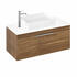 Britton Shoreditch Wall Hung Double Drawer 1000mm Vanity Unit with Quad Countertop Basin Caramel