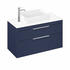 Blue - Britton Shoreditch Wall Hung Double Drawer 1000mm Vanity Unit with Quad Countertop Basin