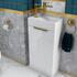 SMALL, WHITE, VANITY UNIT AND BASIN, WITH GOLD HANDLES