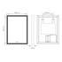Line Drawing showing dimensions for Sycamore LED Bathroom Mirror with Demister