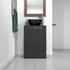 Front View of Sonix Small Bathroom Grey Cabinet with Countertop Black Basin