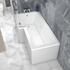 L Shaped Shower Bath with Light Grey Bath Panel