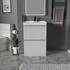 Light grey 600mm vanity unit with 2 draw storage