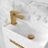Angled Top View of Small Basin with Gold Mixer Tap and Gold Click Waste