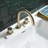 3 Hole bathroom basin mixer tap in brushed gold finish