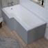 Angled Top View of Grove Platinum Grey Gloss MDF L-shape Bath Panel