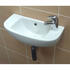 White wall hung basin with 1 right handed tap hole and mini tap