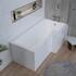 L-shape Right Hand Bath with Bath Screen and Chrome Bath Filler