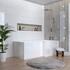 Right Hand L-Shape Bath with Chrome Bath Filler And Hinged Bath Screen