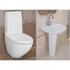 white curved pan and cistern with 1 tap hole basin and pedestal