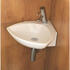 Corner installed Tilly ceramic basin with chrome basin waste and chrome tap