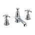 Anglesey 3 Tap hole bath shower mixer with pop up waste with cross head Handle