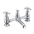 Anglesey Two tap hole bridge mixer with swivelling spout with plug and chain waste