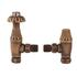 Antique Brass Angled Thermostatic Radiator Valves & Lock Shield Traditional Bathroom Accessory