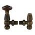 Antique Brass Chelsea Angled Thermostatic Radiator Valves & Lock Shield Traditional Bathroom Accessory