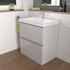 Bathroom vanity unit in light grey with 2 drawers