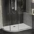 Room scene showing left hand raised easy plumb offset quadrant corner anti-slip shower tray