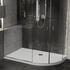 Room Scene showing right hand offset quadrant stone resin anti-slip shower tray