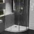Room scene showing quadrant corner anti-slip stone resin raised easy plumb shower tray
