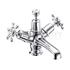 Birkenhead Basin Mixer, with cross head handles, with high central indice with click clack waste