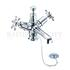 Birkenhead Basin Mixer, with cross head handles, with high central indice with plug and chain waste