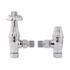 Chrome Angled Thermostatic Radiator Valves & Lock Shield Traditional Bathroom Accessory