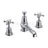 Claremont 3 Tap hole bath shower mixer with pop up waste with cross head Handle