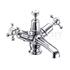 Claremont Basin Mixer , with cross head handles,with high central indice with click clack waste