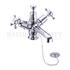Claremont Basin Mixer, with cross head handles, with high central indice with plug and chain waste