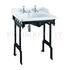 Classic Basin for Integrated Waste & Overflow 65cm 2TH and  Black Aluminium Basin Stand