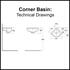 Compact Corner Basin Technical Drawings