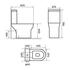 Dimensions line drawing of Classic White Close-coupled Parma Toilet with Soft-close Seat