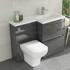 Pemberton Grey 1100 Space Saving Ensuite Sink and Toilet Cabinet - 179060