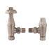 Satin Nickel Angled Thermostatic Radiator Valves & Lock Shield Traditional Bathroom Accessory