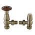 Satin Nickel Chelsea Angled Traditional Bathroom Thermostatic Radiator Valves & Lock Shield