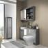 GREY VANITY UNIT WITH TOILET AND BASIN