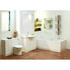 Integrated wall hung lit mirror cabinet with gloss white bathroom suite