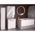 Curved jupe cabinet mirror with wall hung towel radiator and high gloss white bathroom suite