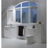 Jupe curved wall hung mirror with integrated lights and pelmet