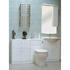 Jupe single curved lit mirror cabinet with 500mm back to wall unit and 650mm vanity units